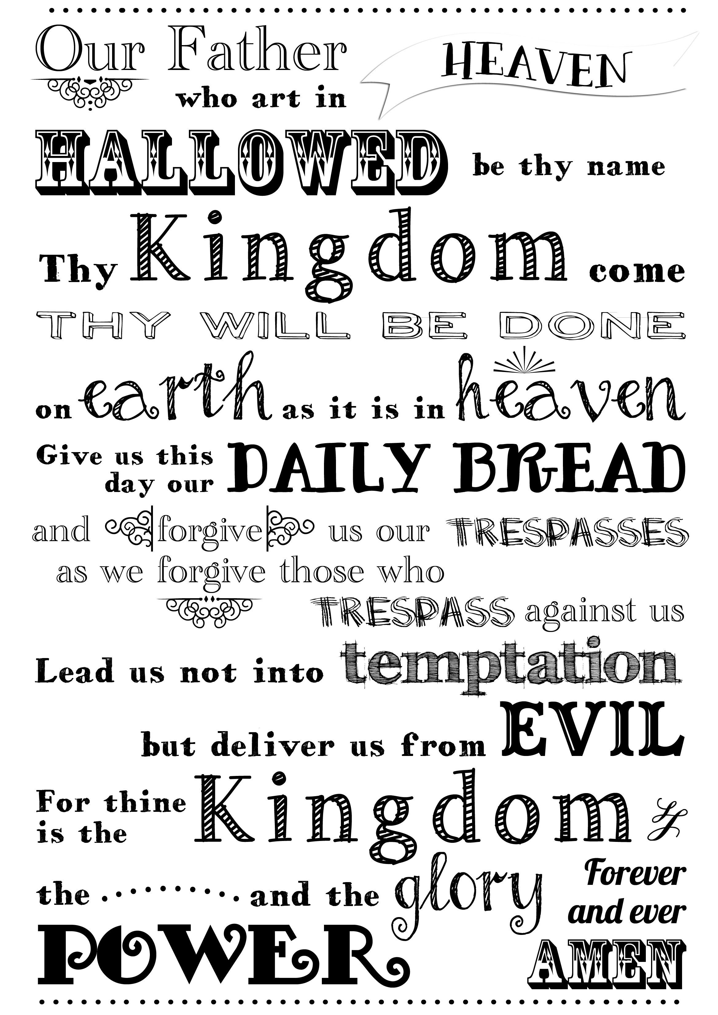 This is a picture of Zany The Lord's Prayer Printable